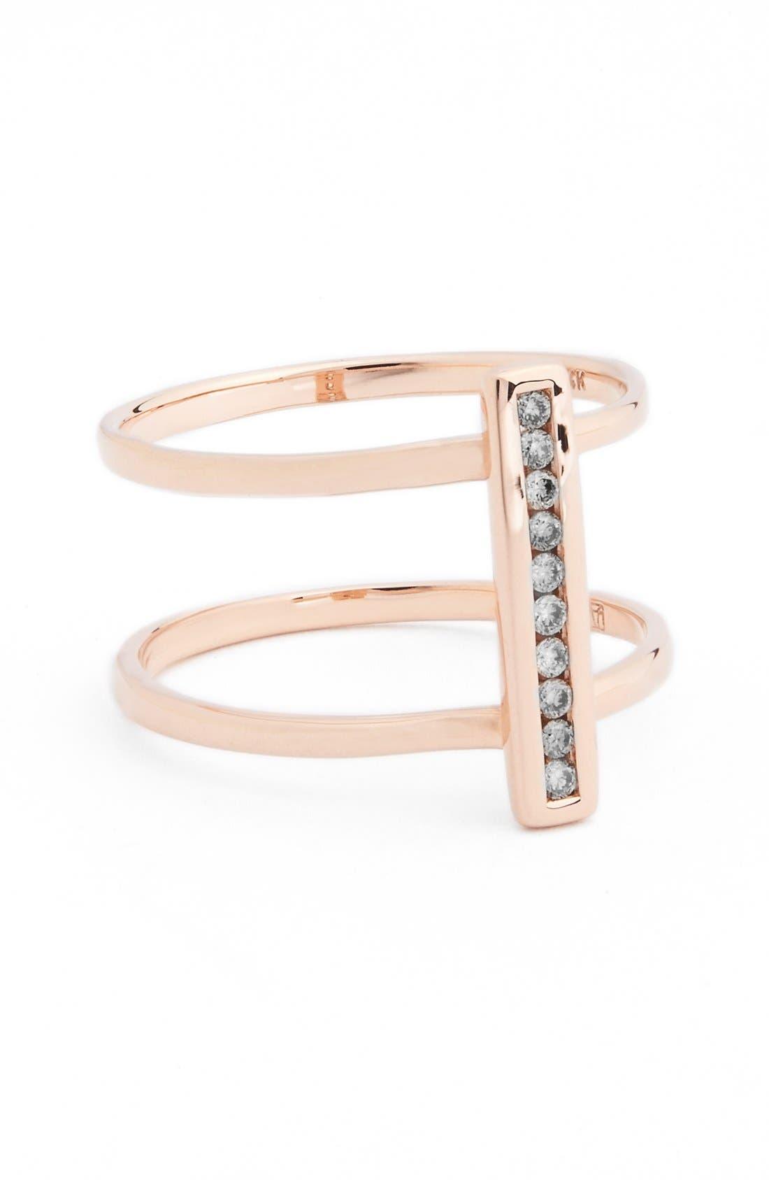 'Licol' Diamond Bar Ring,                         Main,                         color, Rose White