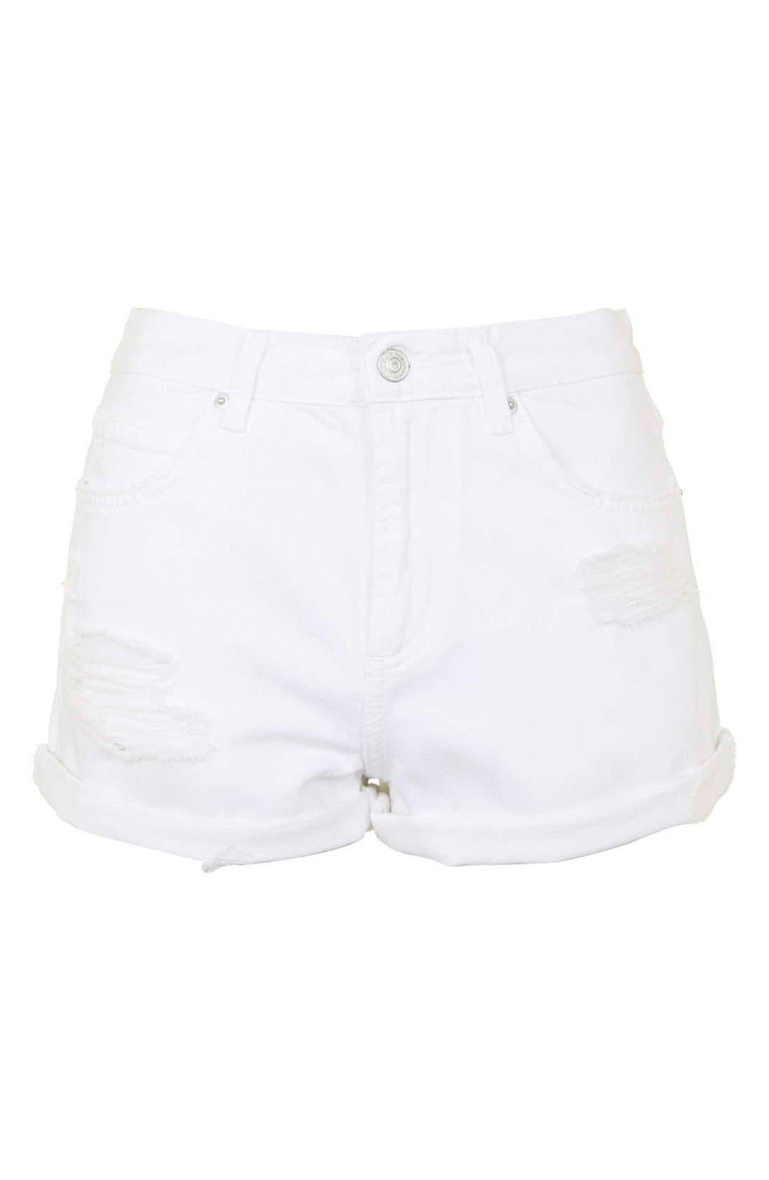 Alternate Image 4  - Topshop Moto 'Rosa' Ripped Denim Shorts (White)
