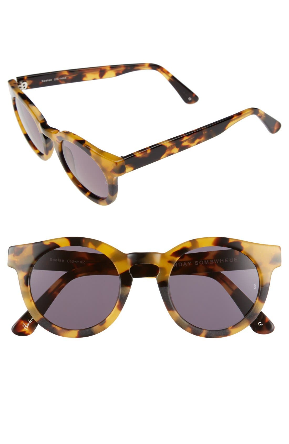 'Soelae' 46mm Round Sunglasses,                         Main,                         color, Marble Tortoise