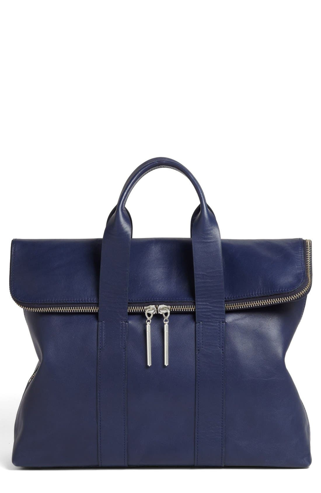 '31 HOUR' LEATHER TOTE - BLUE