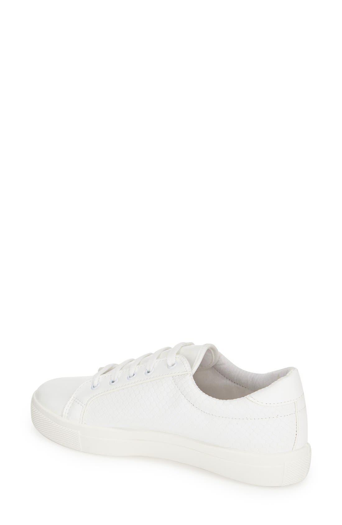 'Copenhagen' Lizard Embossed Faux Leather Sneaker,                             Alternate thumbnail 2, color,                             White