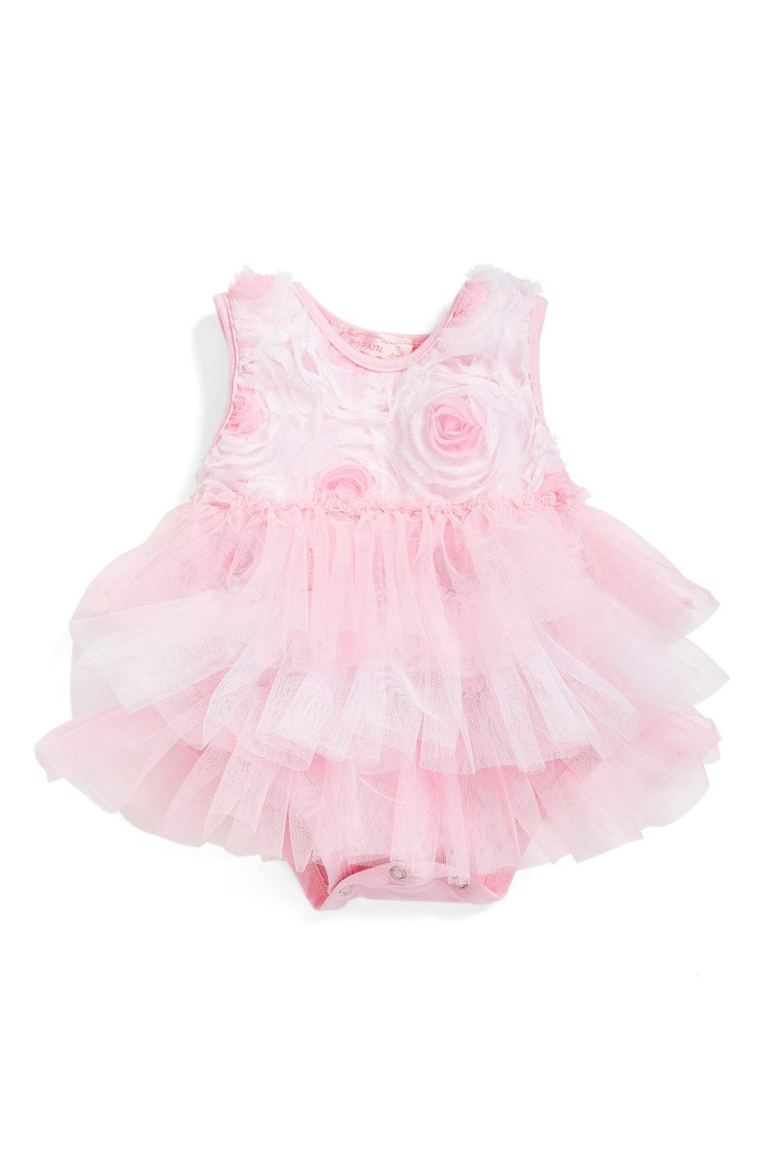 Alternate Image 1 Selected - Popatu Ribbon Rosette Ruffle Tier Bodysuit (Baby Girls)
