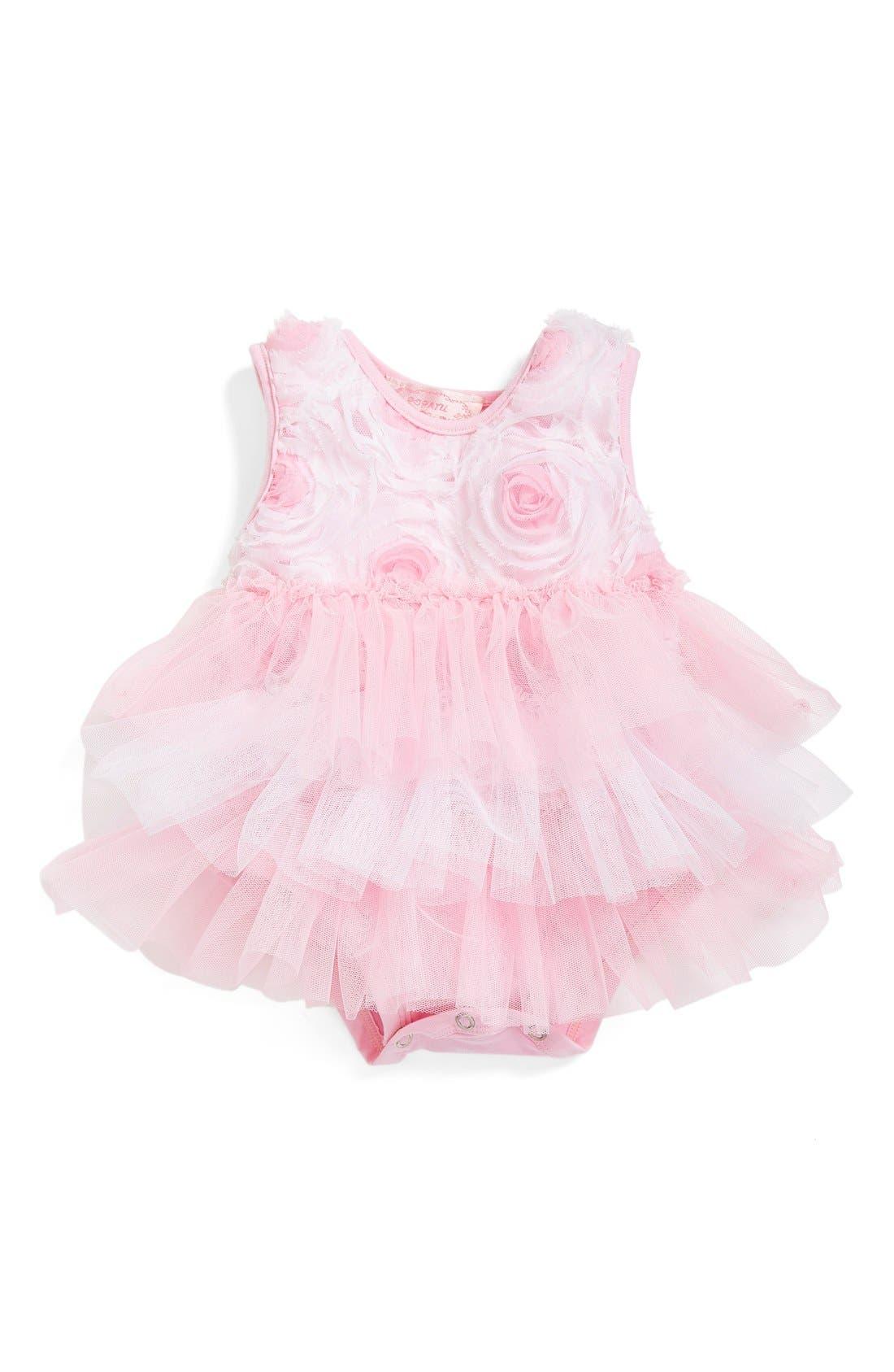 Ribbon Rosette Ruffle Tier Bodysuit,                         Main,                         color, Pink