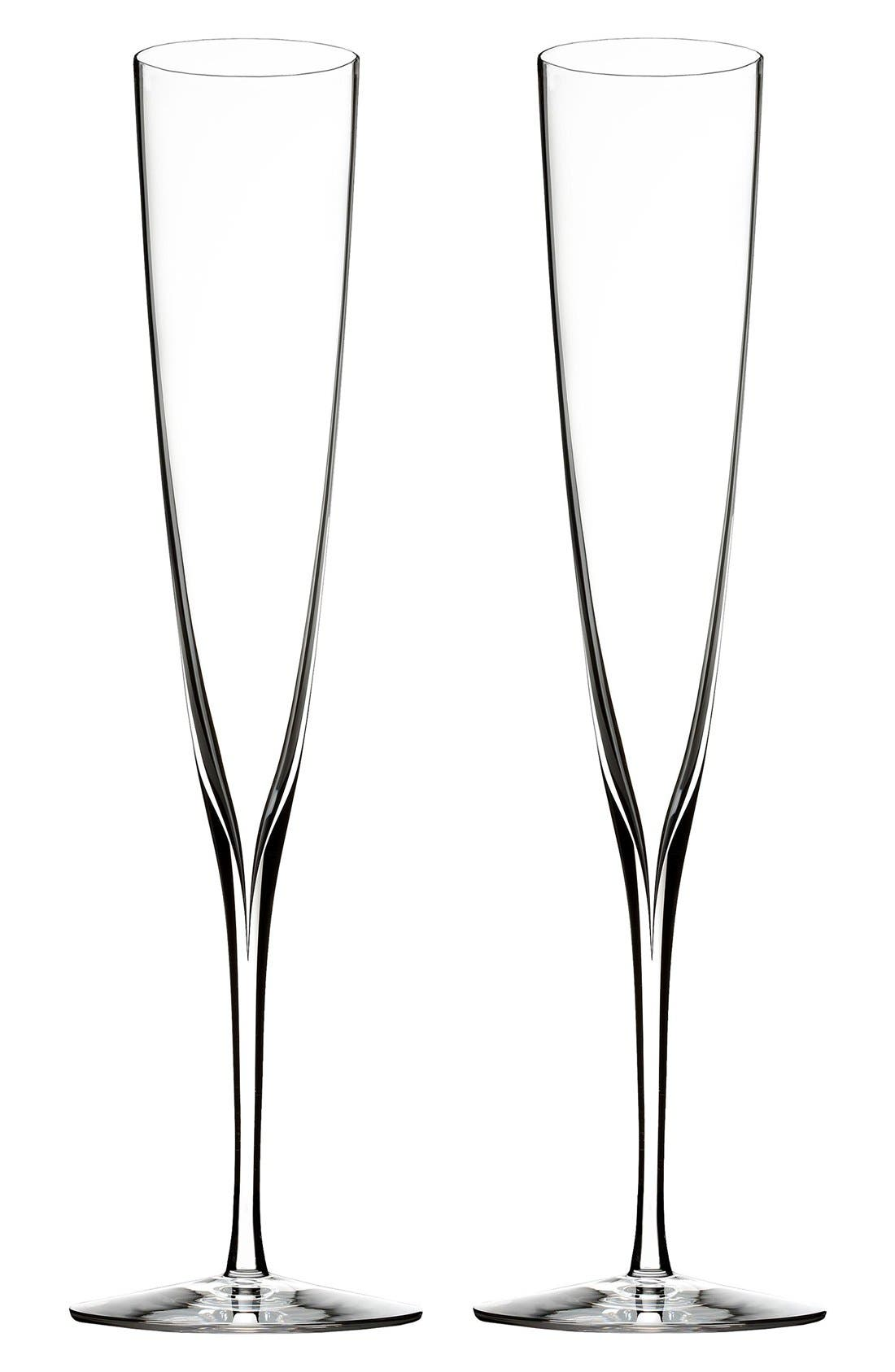 Main Image - Waterford 'Elegance' Fine Crystal Champagne Trumpet Flutes (Set of 2)