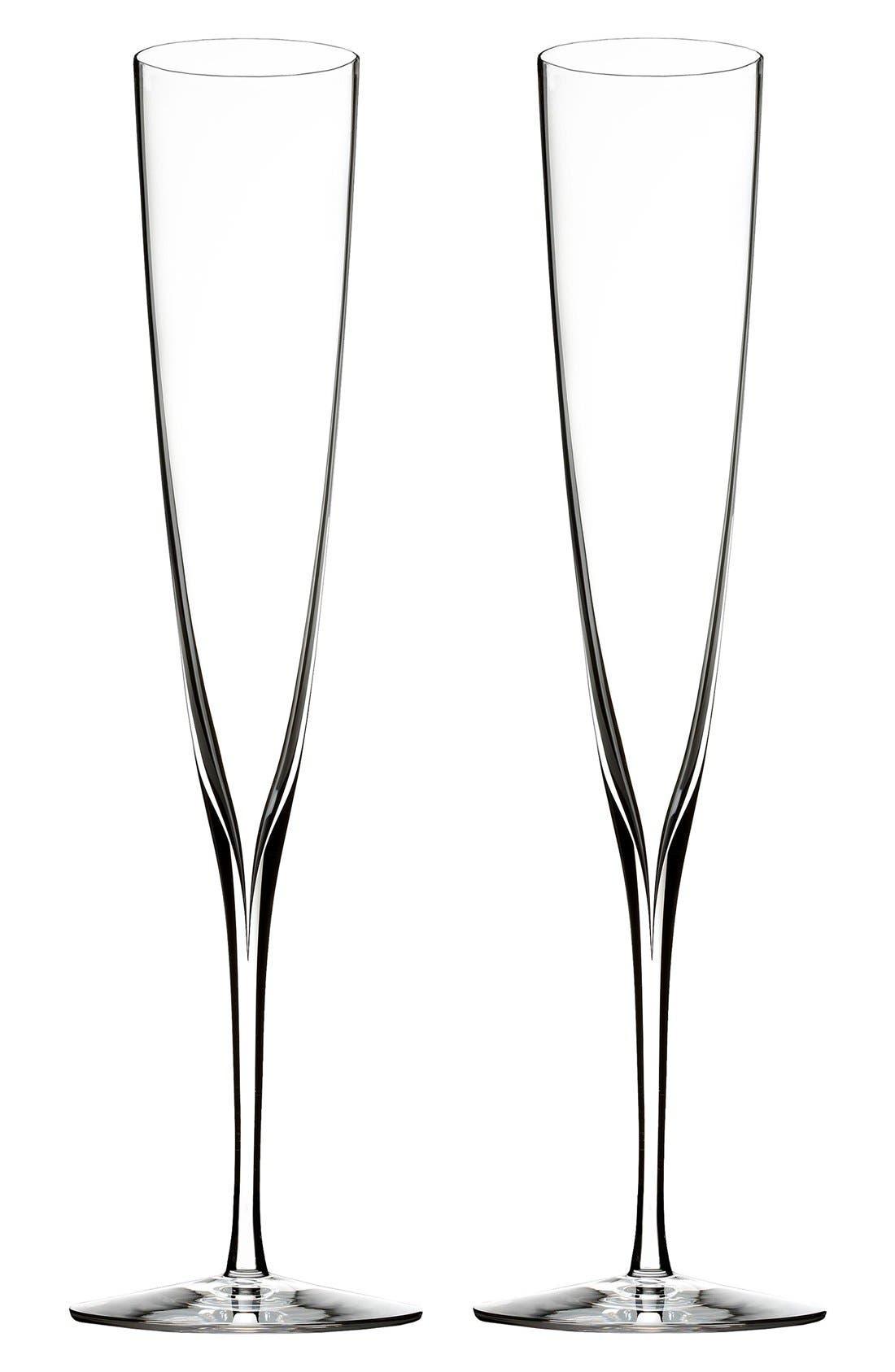 Waterford 'Elegance' Fine Crystal Champagne Trumpet Flutes (Set of 2)