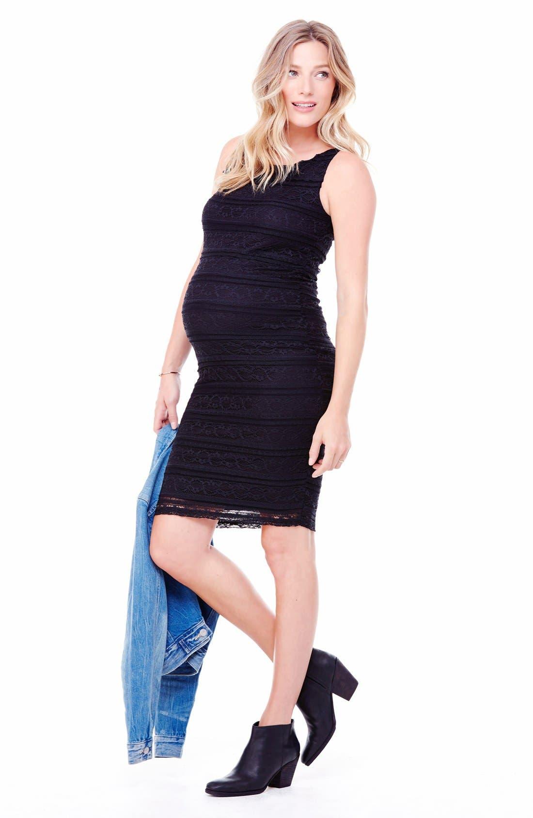 Ingrid & Isabel Sleeveless Stretch Lace Maternity Dress,                             Alternate thumbnail 2, color,                             Jet Black