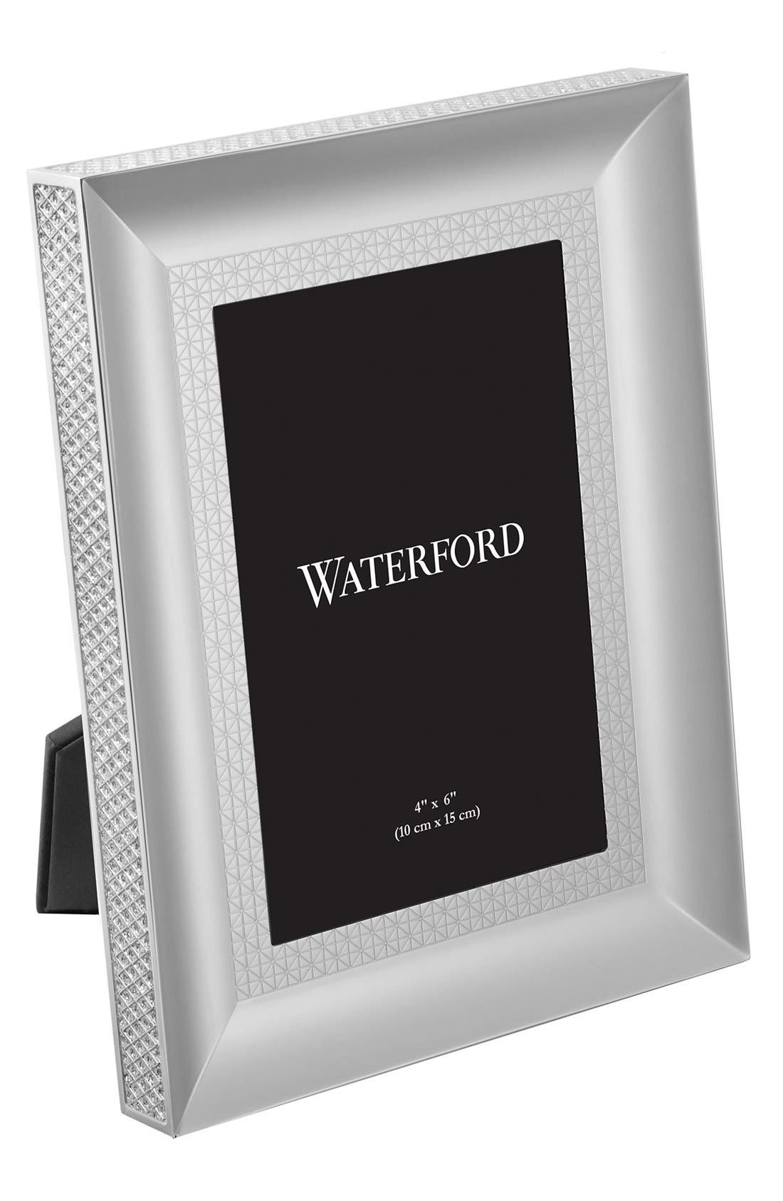 Lismore Diamond Lead Crystal Picture Frame,                             Alternate thumbnail 2, color,                             Silver