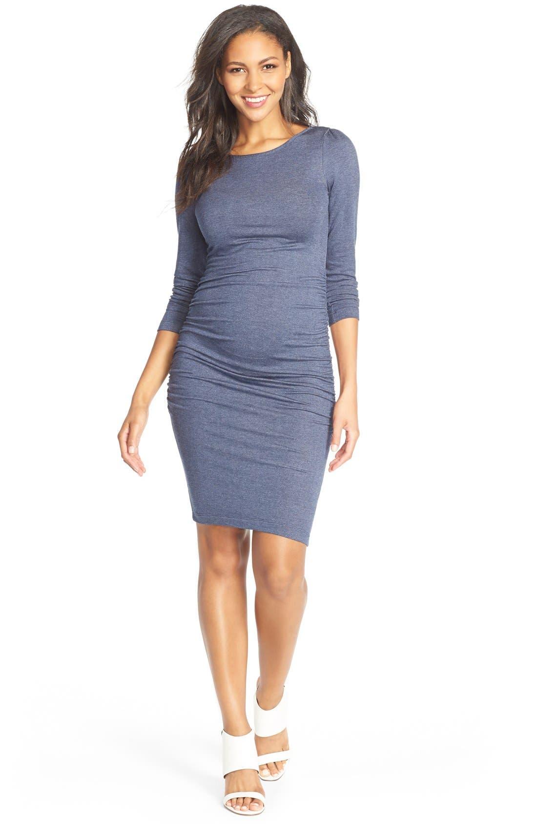 Presley Body-Con Maternity Dress,                         Main,                         color, Blue Denim