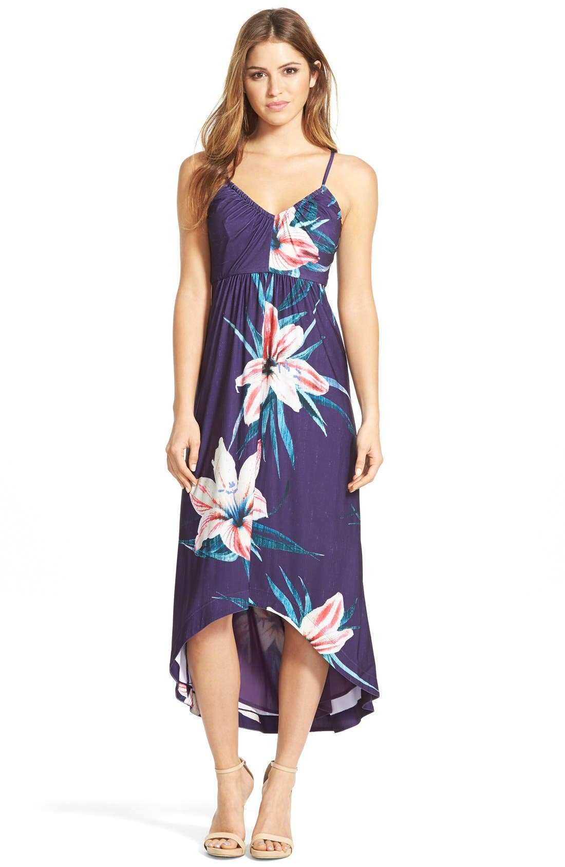 Main Image - Catherine Catherine Malandrino 'Sheila' Floral Print V-Neck Sundress