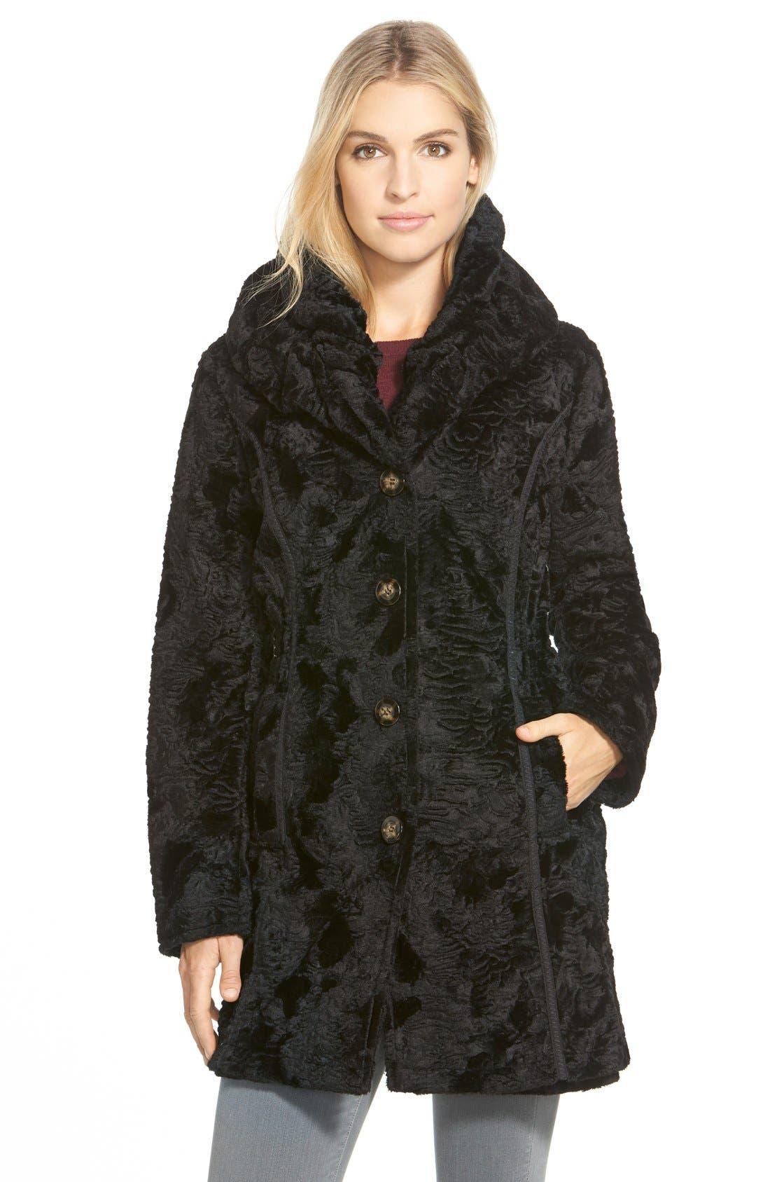 Laundry by ShelliSegalReversible FauxPersian Lamb Fur Coat,                         Main,                         color, Black