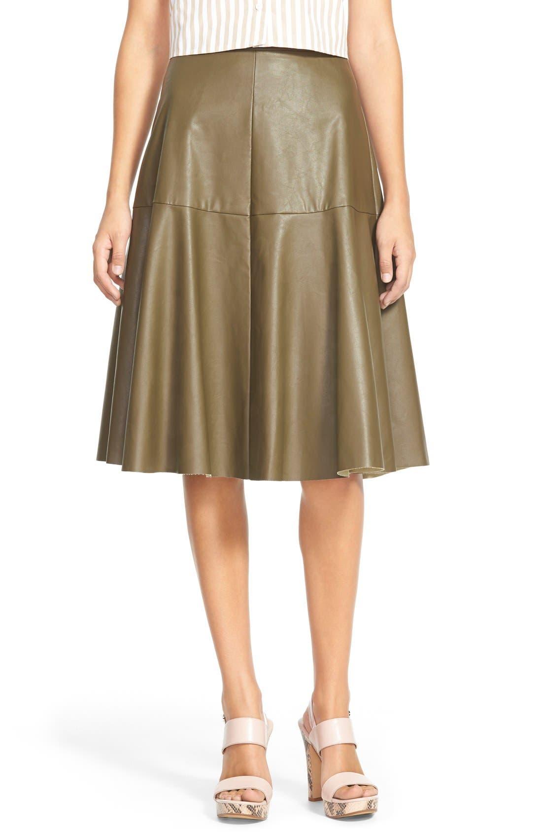 Main Image - J.O.A. Faux Leather Midi Skirt