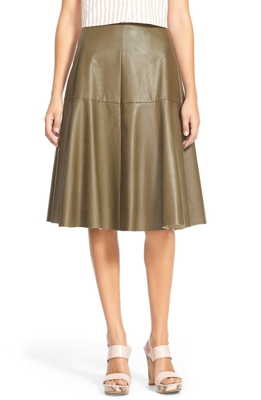 Faux Leather Midi Skirt,                         Main,                         color, Olive