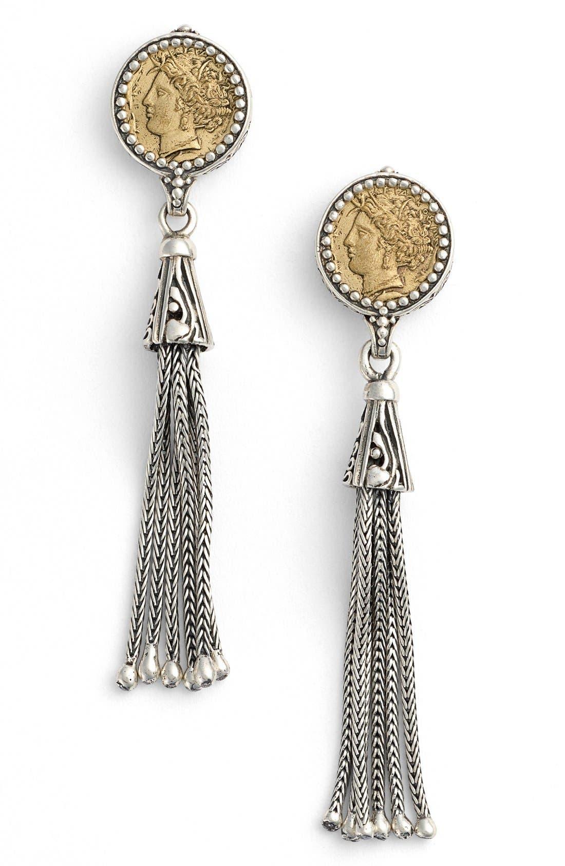 Coin Tassel Drop Earrings,                             Main thumbnail 1, color,                             Silver/ Bronze