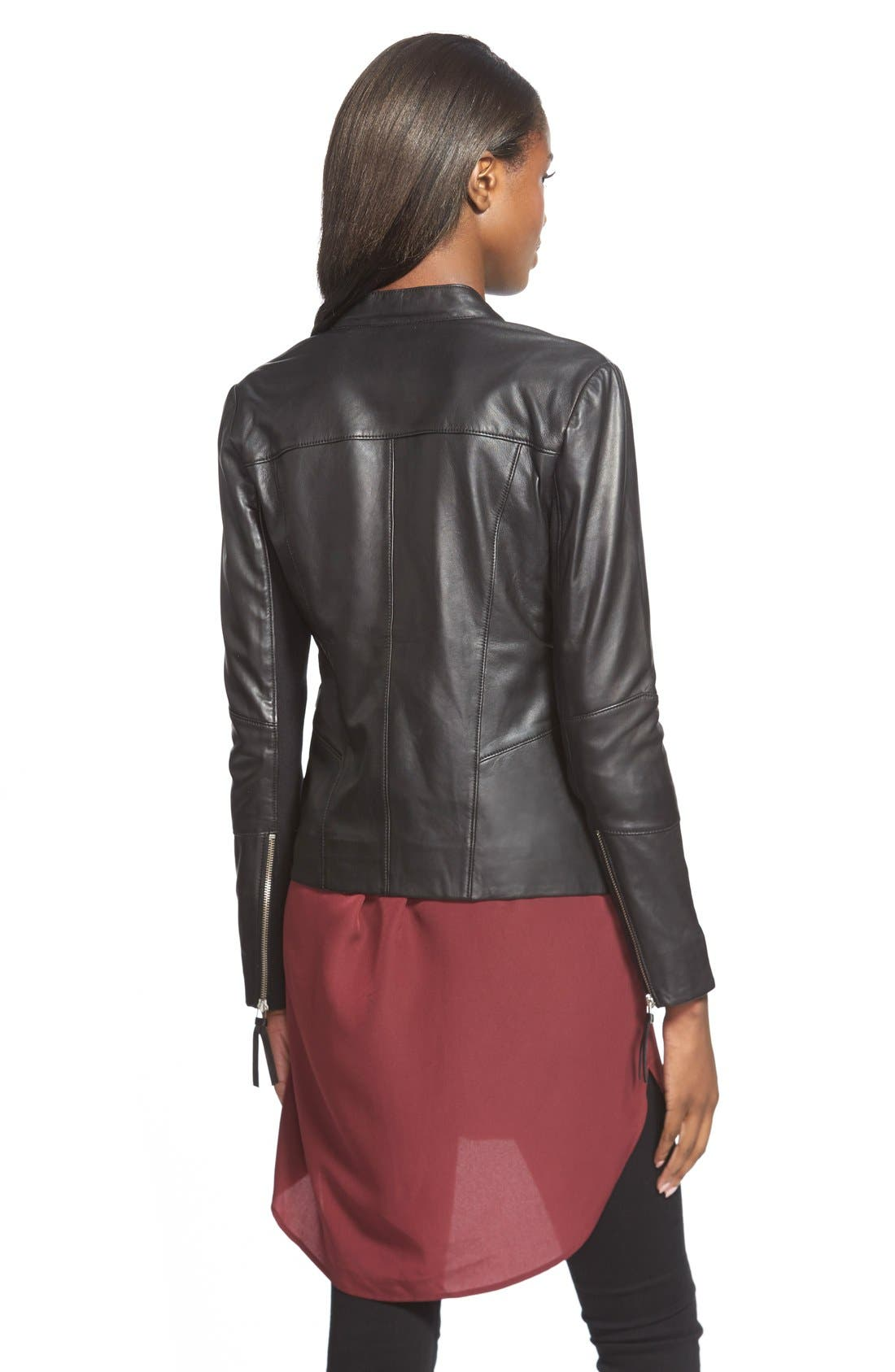 Alternate Image 2  - Trouvé Zip Sleeve Leather Jacket