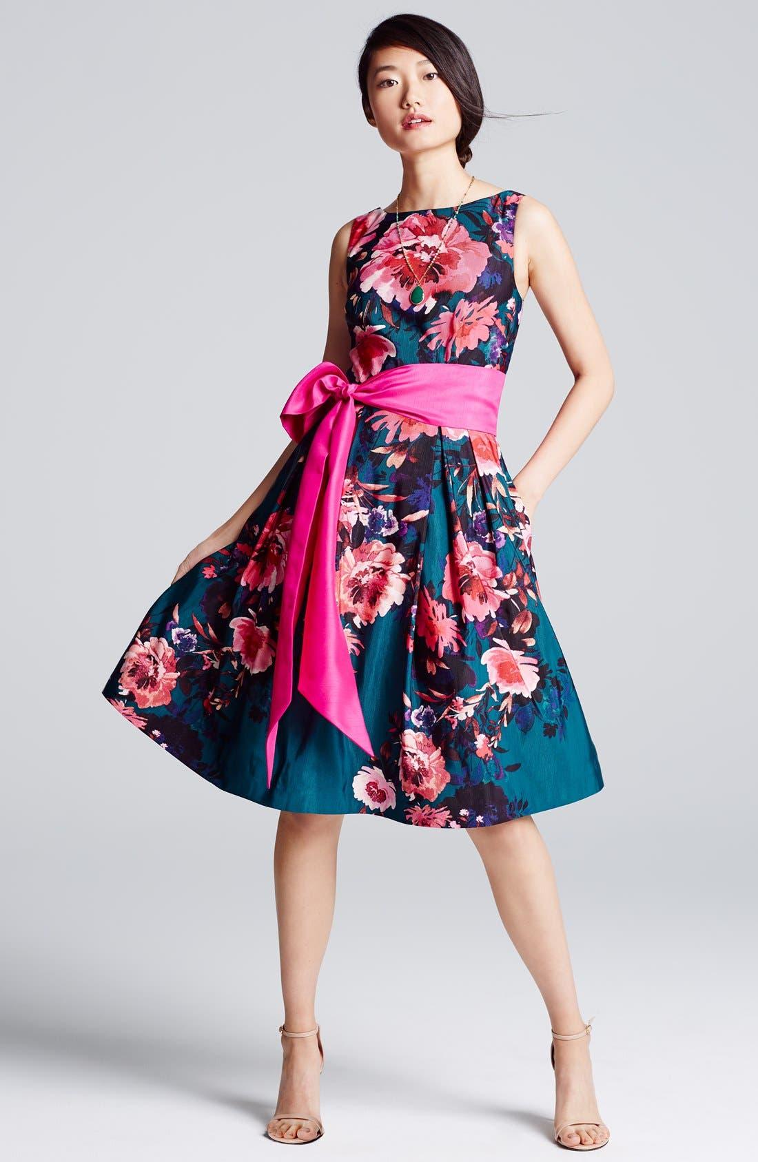 Alternate Image 5  - Eliza JFloral Print Faille Fit & Flare Dress (Regular & Petite)