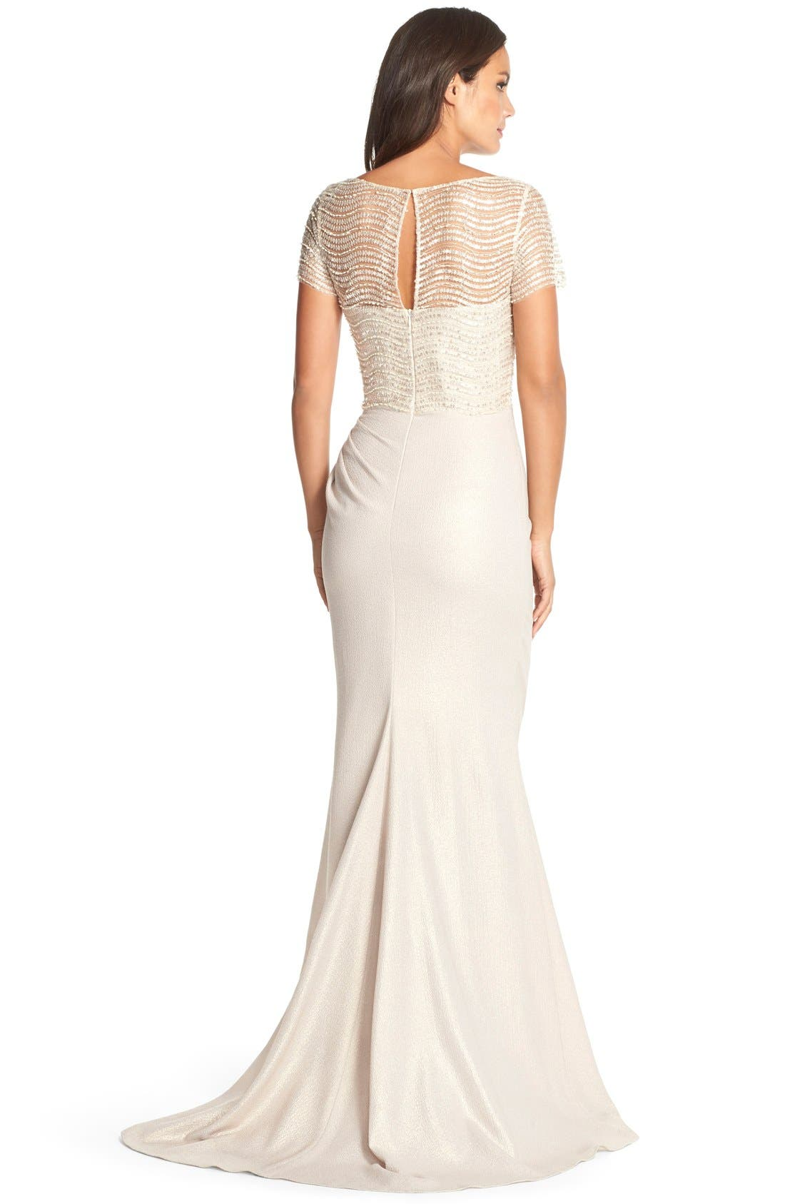 Alternate Image 2  - Badgley Mischka Embellished Illusion Crepe Gown