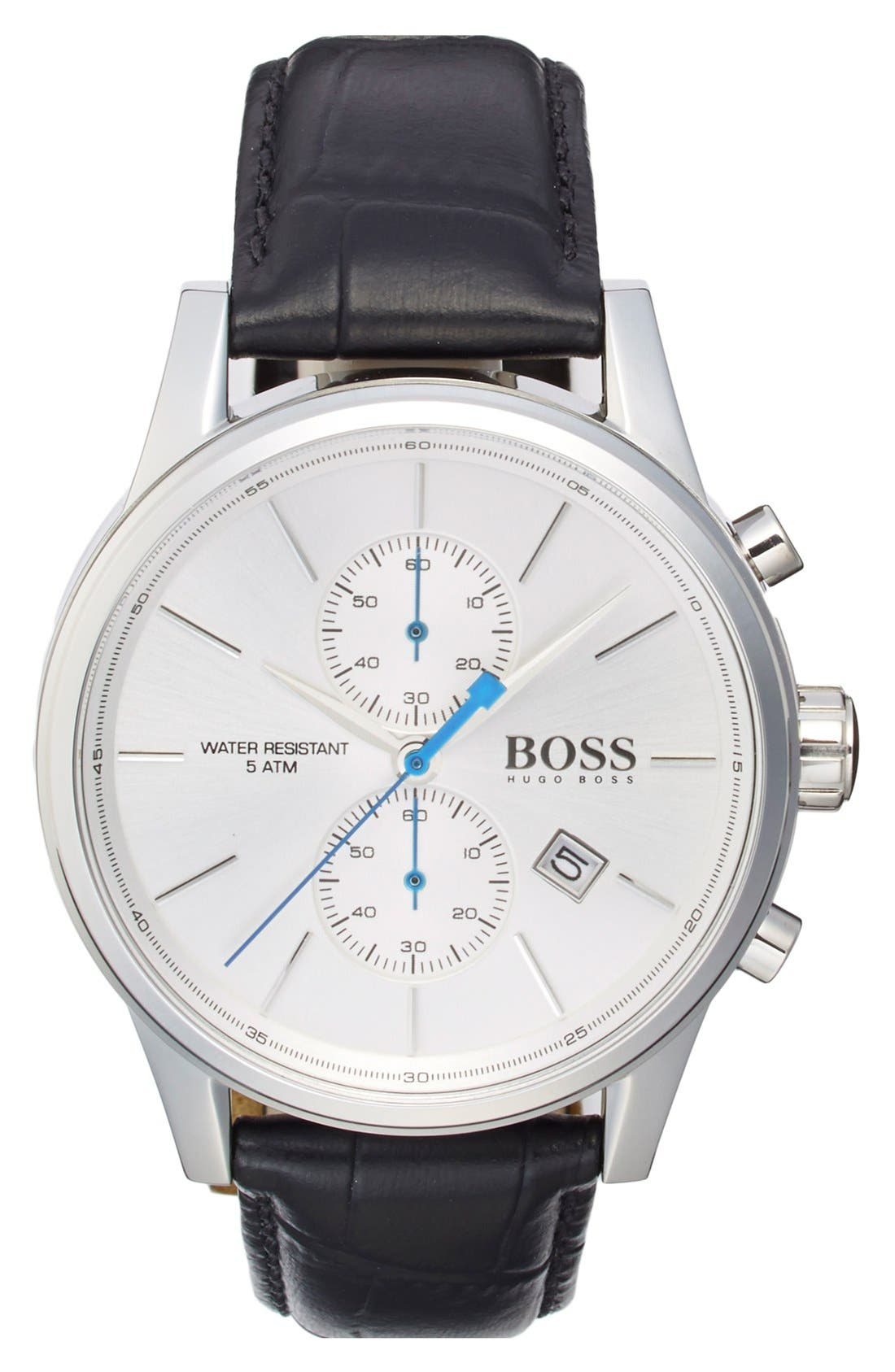 BOSS 'Jet Sport' Chronograph Leather Strap Watch, 41mm