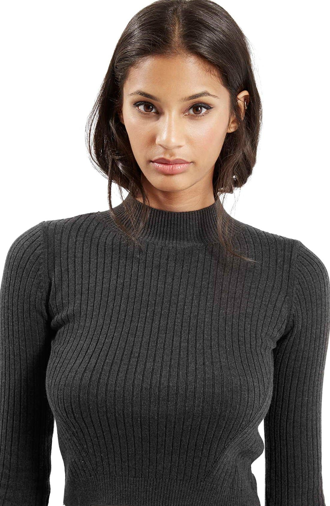 Alternate Image 5  - Topshop Ribbed Long Sleeve Crop Top