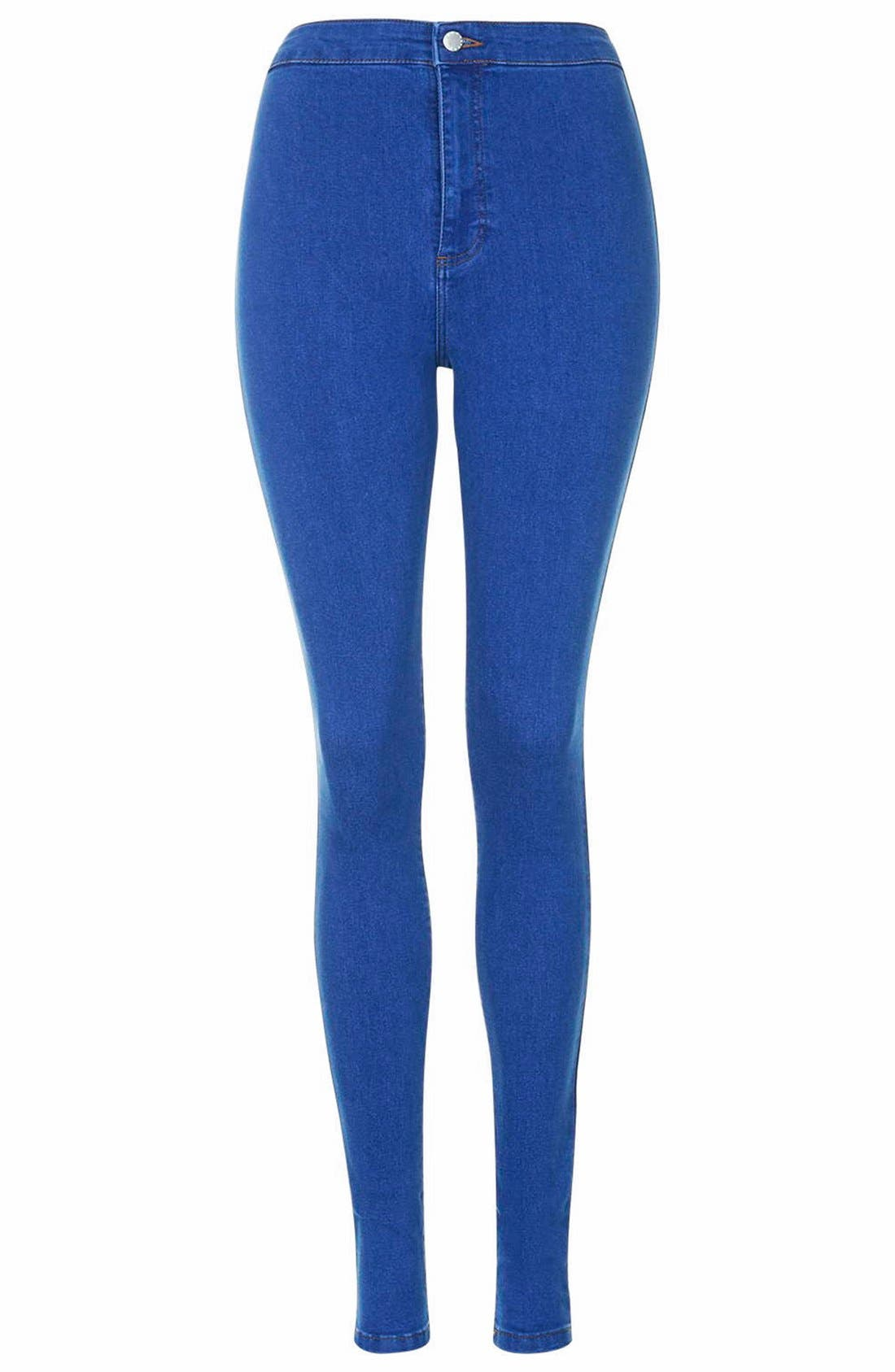 Alternate Image 4  - Topshop'Joni' High Rise Skinny Jeans (Bright Blue)