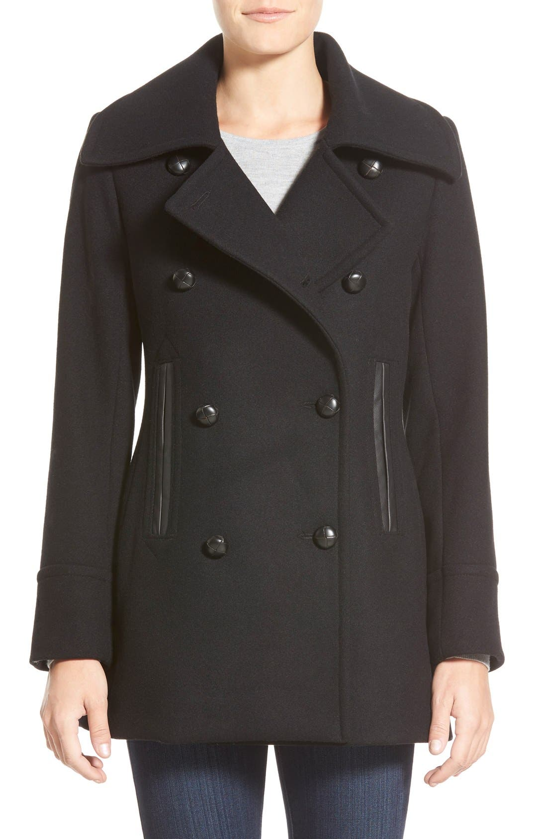 Main Image - Pendleton'Cascades' Double Breasted Wool Blend Peacoat
