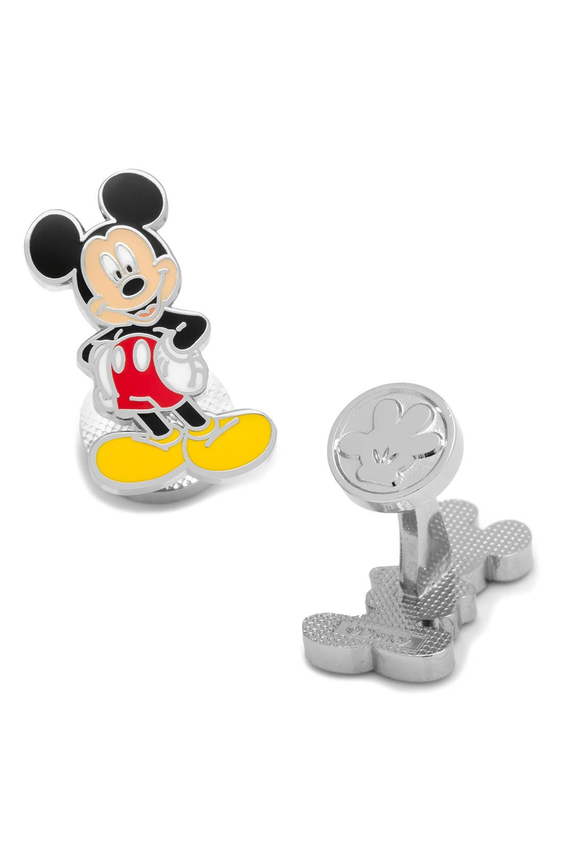 Mickey Mouse Cuff Links,                         Main,                         color, Black Multi
