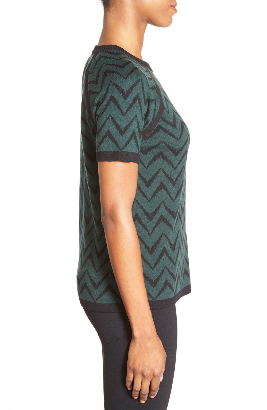 Alternate Image 3  - Anne Klein Chevron Stripe Crewneck Sweater