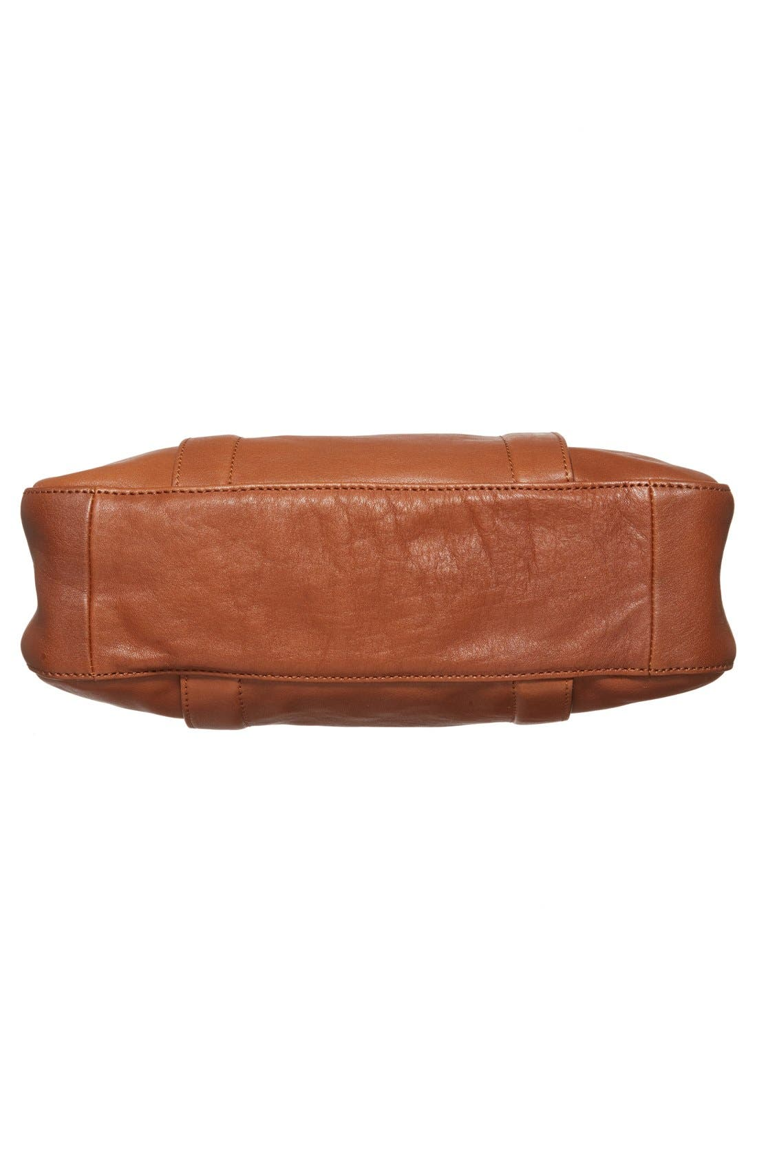'Small3D' Leather Tote,                             Alternate thumbnail 6, color,                             Cognac