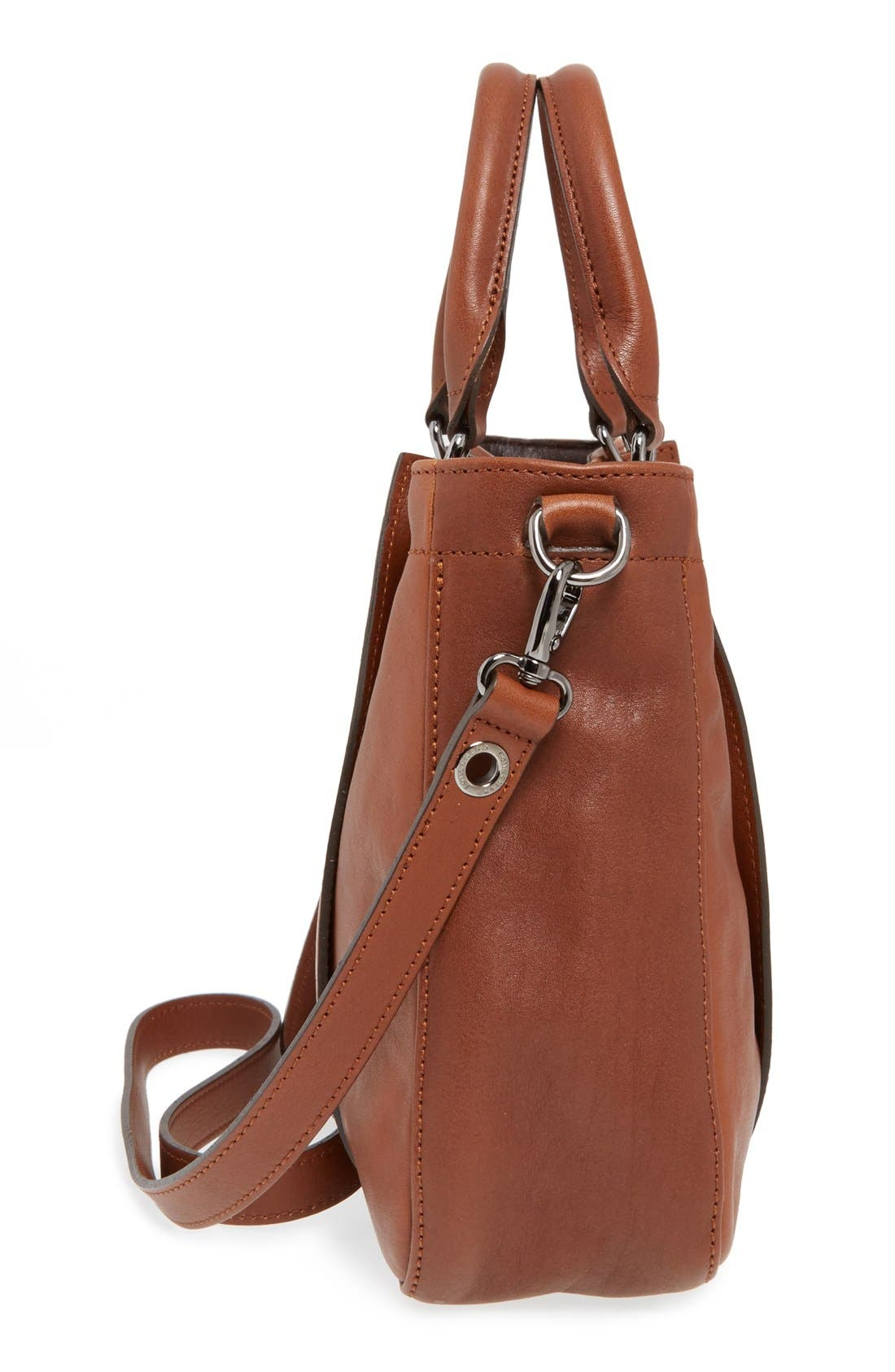 'Small3D' Leather Tote,                             Alternate thumbnail 5, color,                             Cognac
