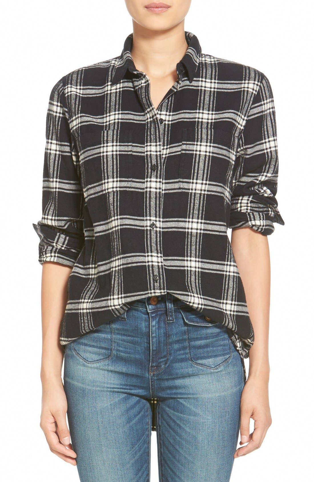 Main Image - Madewell 'Rutherford Plaid' Flannel Ex-Boyfriend Shirt