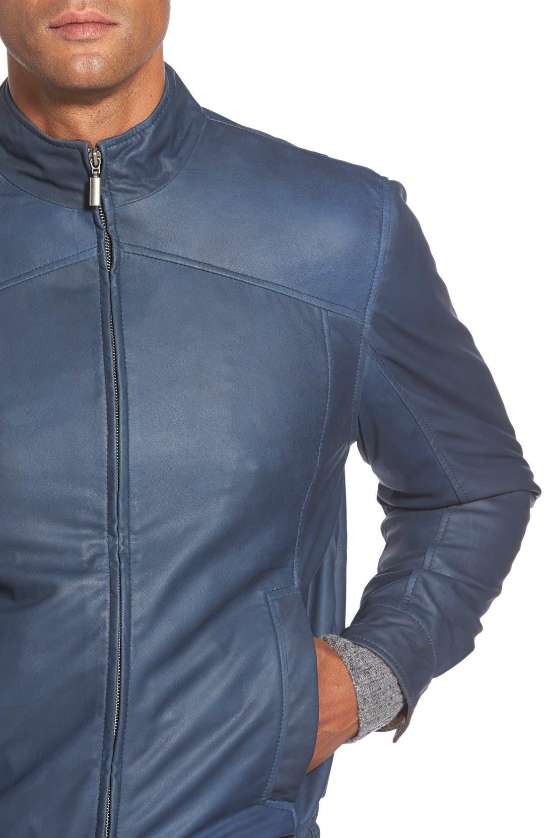 Leather Bomber Jacket,                             Alternate thumbnail 3, color,                             Navy