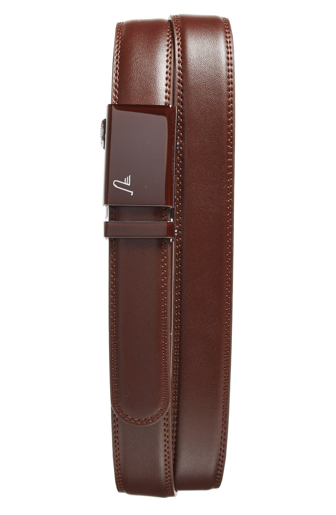 'Chocolate' Leather Belt,                             Main thumbnail 1, color,                             Brown/ Brown