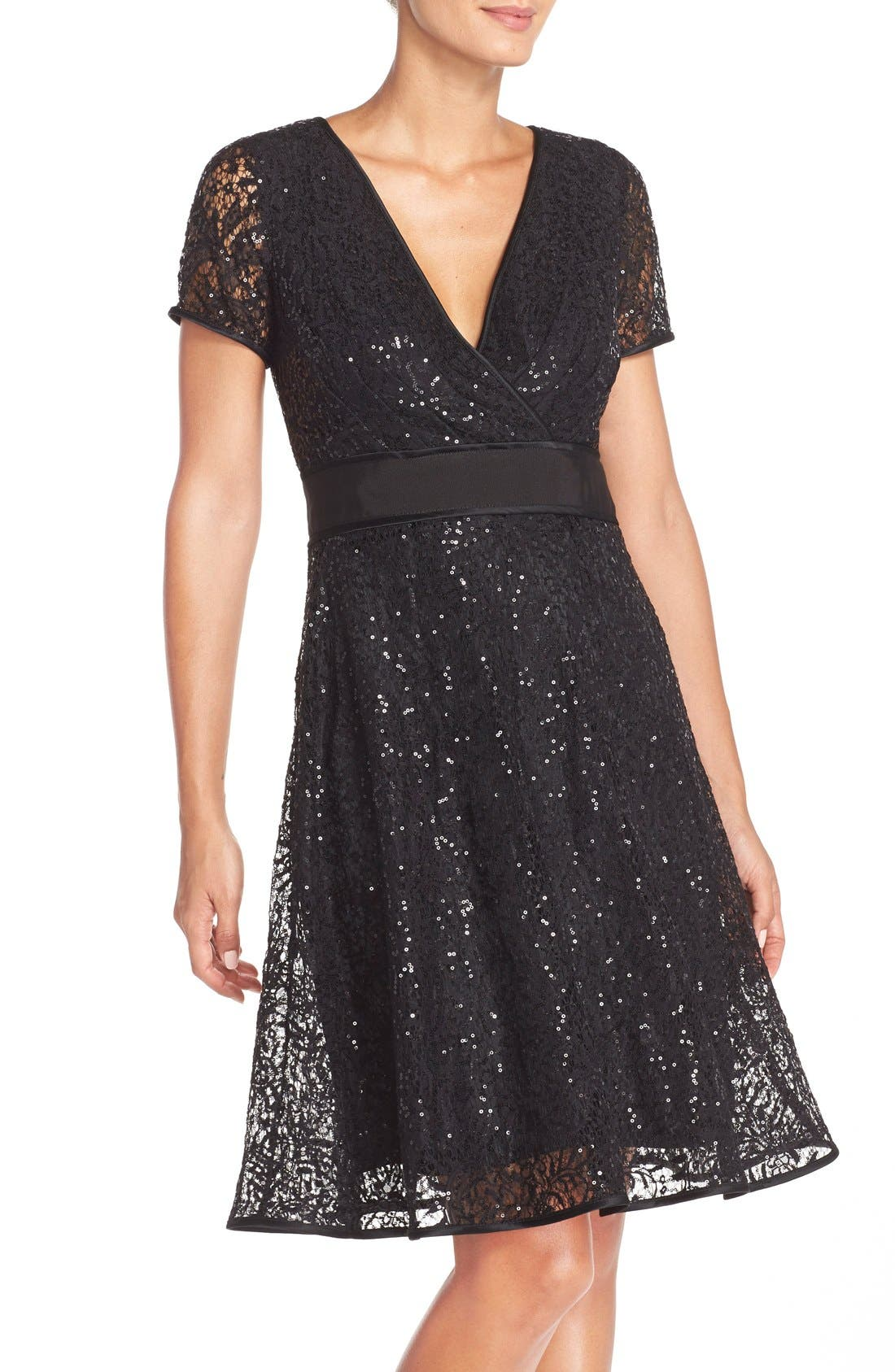Alternate Image 4  - Nue by Shani Sequin Lace Fit & Flare Dress