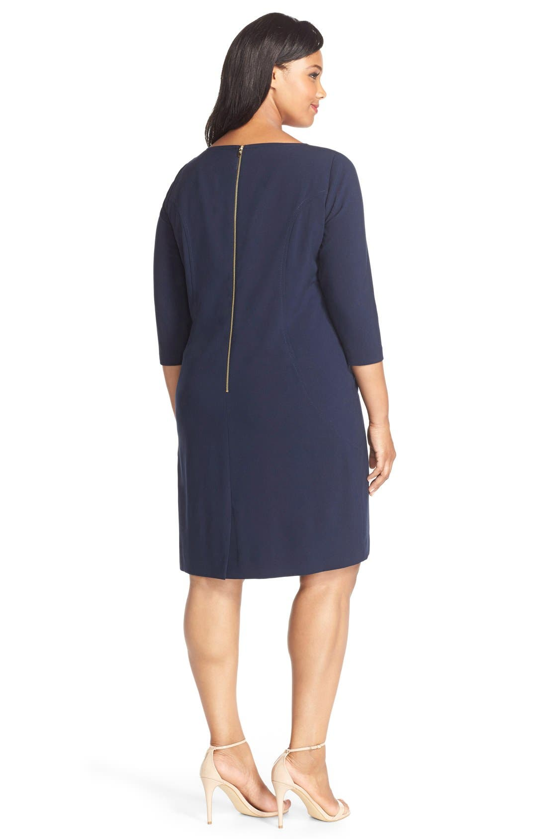 by Arthur S. Levine Seamed A-Line Dress,                             Alternate thumbnail 2, color,                             Navy