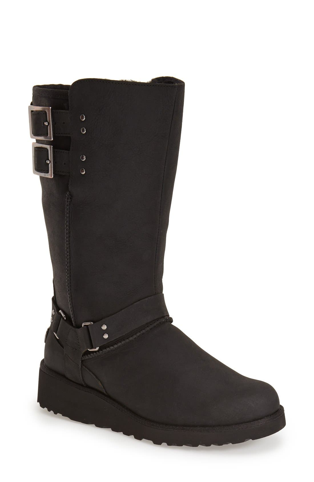 'Jasper' Water Resistant Boot,                             Main thumbnail 1, color,                             Black Leather