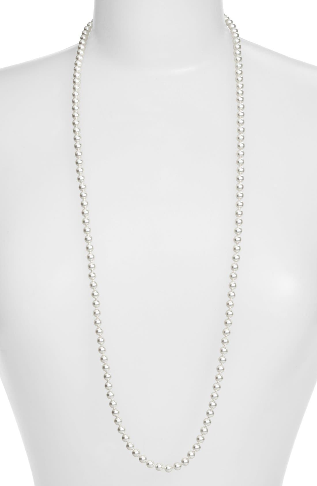 Imitation Pearl Long Necklace,                         Main,                         color, Rhodium