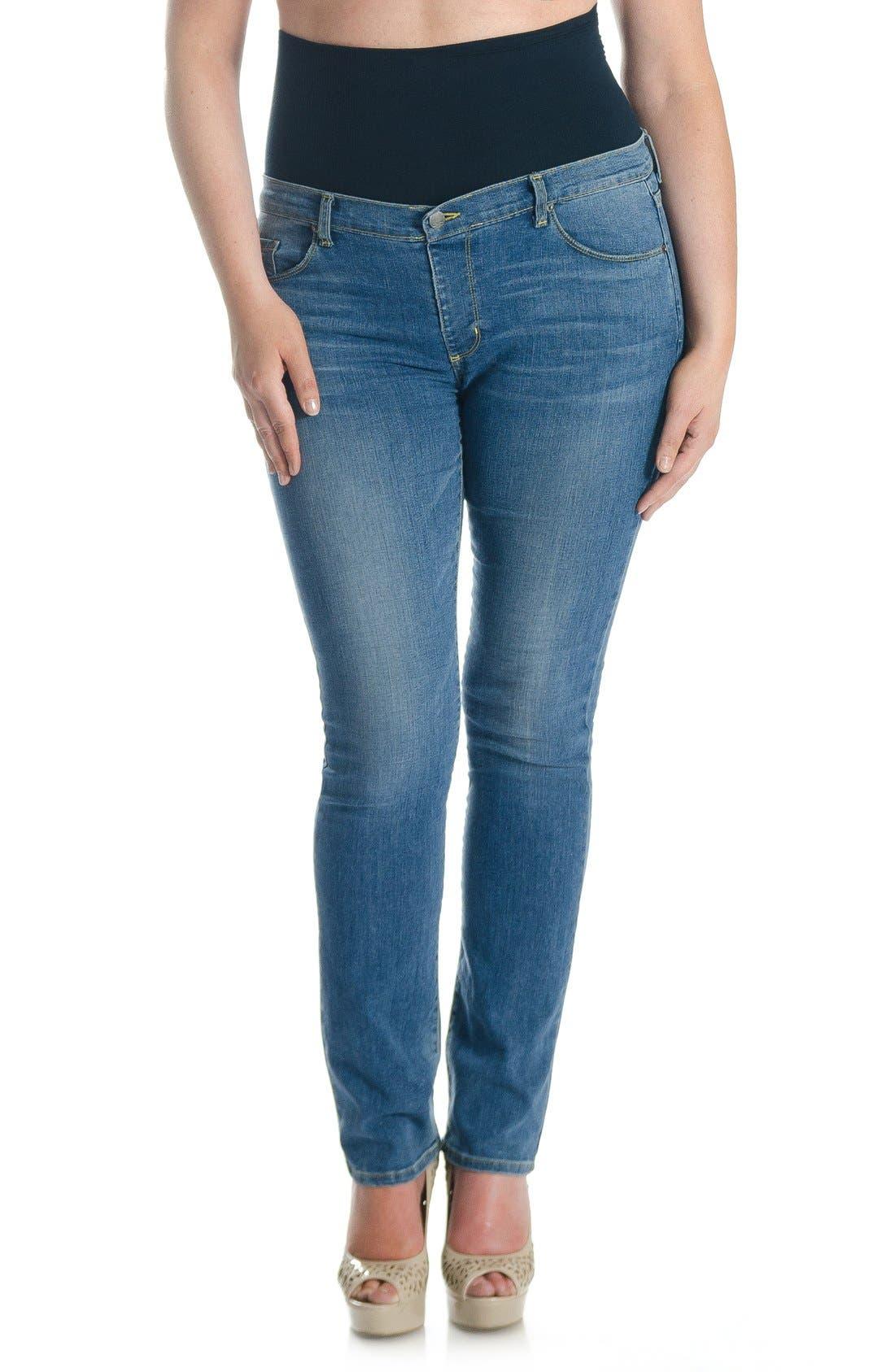 Main Image - Tummy Trimmer Denim Mid Rise Straight LegShapewearJeans