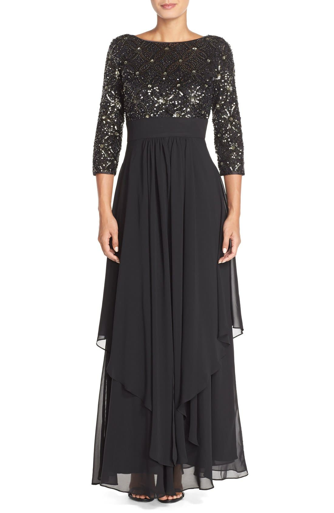 Embellished Tiered Chiffon Fit & Flare Gown,                             Main thumbnail 1, color,                             Black/ Grey