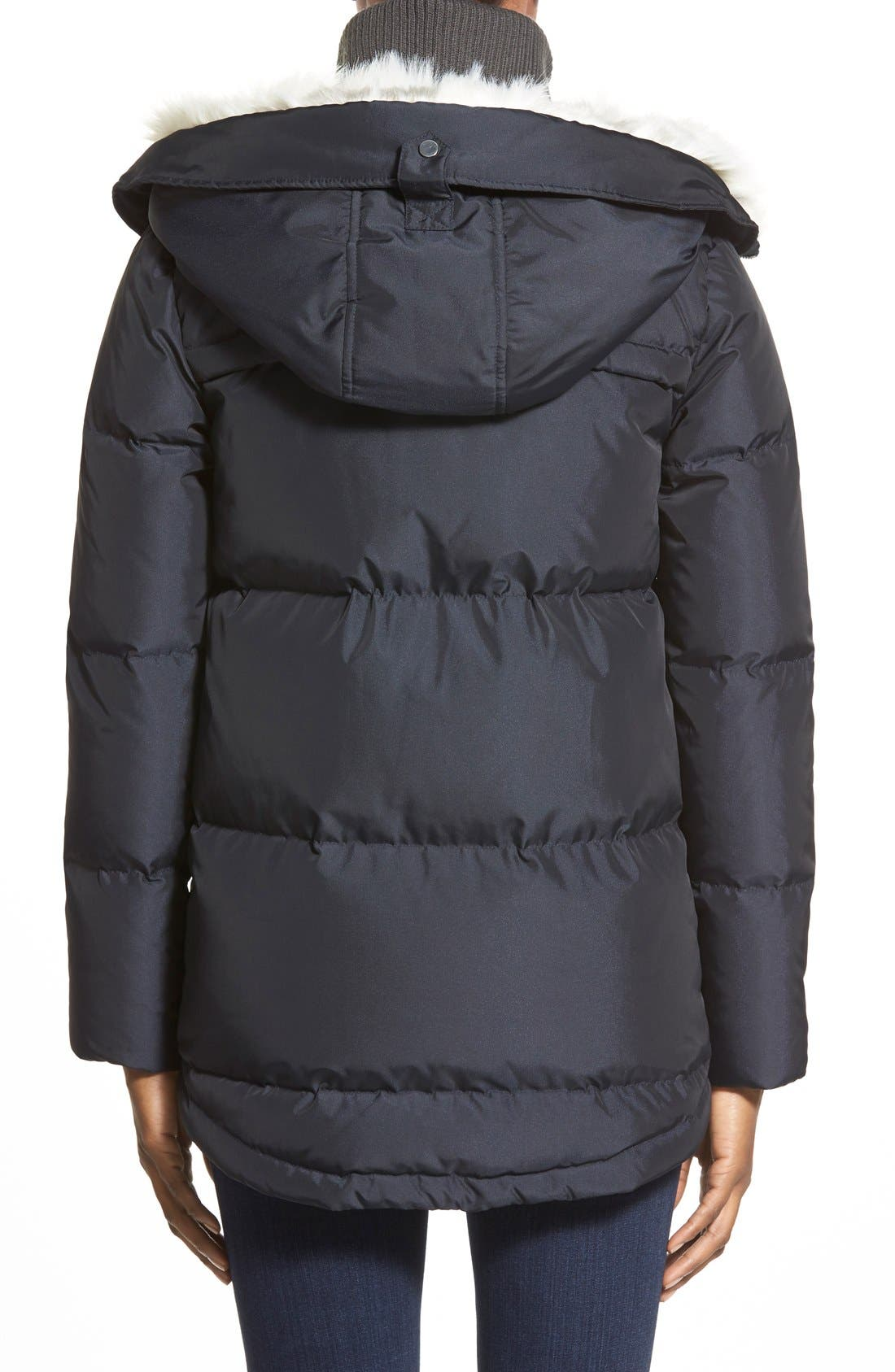 Alternate Image 2  - Bernardo Hooded Down & Feather Fill Parka with Faux Fur Trim