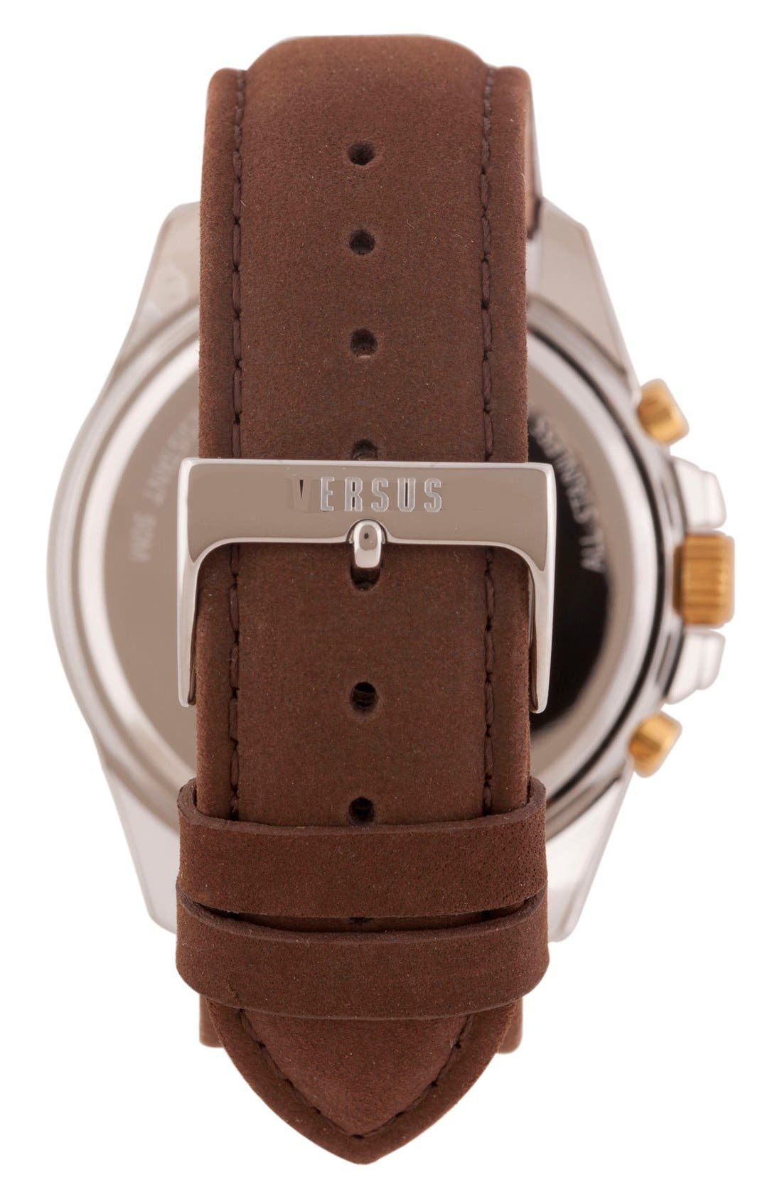 Alternate Image 2  - VERSUS by VersaceChronograph Leather Strap Watch, 44mm