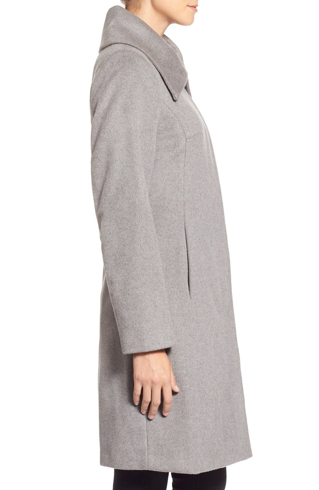 Single Breasted Wool Blend Coat,                             Alternate thumbnail 3, color,                             Platinum