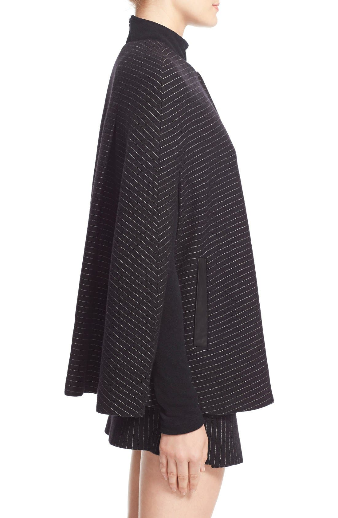 Alternate Image 3  - Alice + Olivia 'Kingsley' Pinstripe Wool Cape Coat
