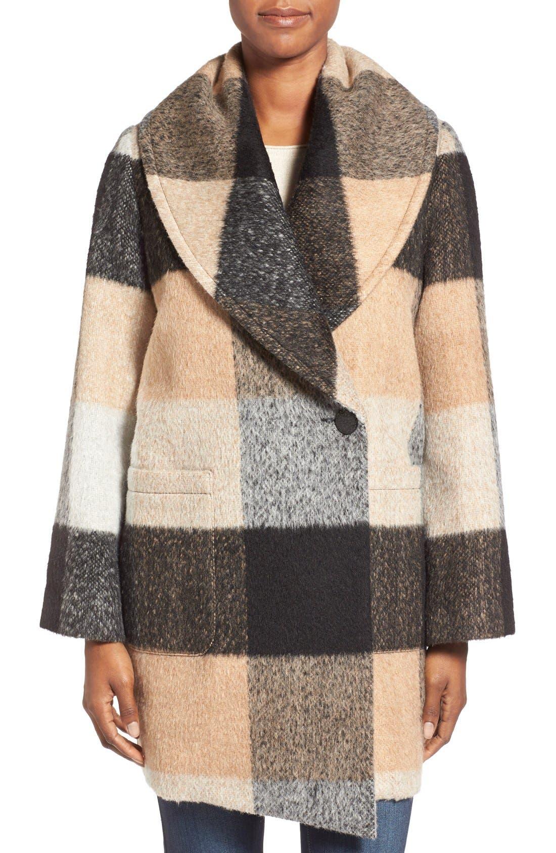 Main Image - BadgleyMischka'Maxine' Plaid Oversize Coat