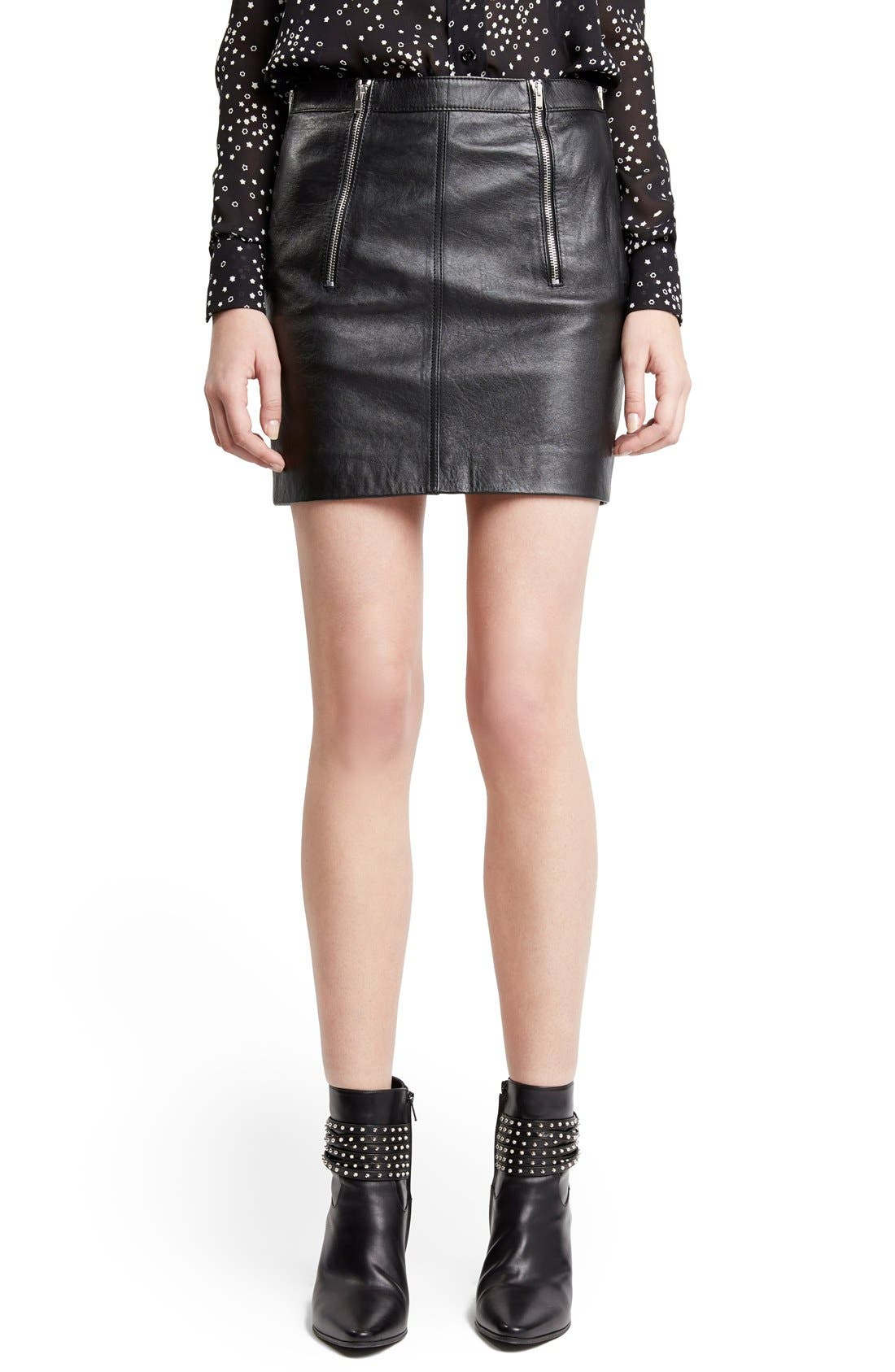 Main Image - Saint Laurent Zip Detail Lambskin Leather Miniskirt