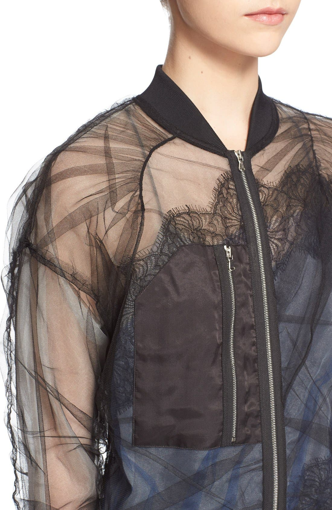 Alternate Image 4  - 3.1 Phillip Lim Gathered Sheer Chiffon Bomber Jacket