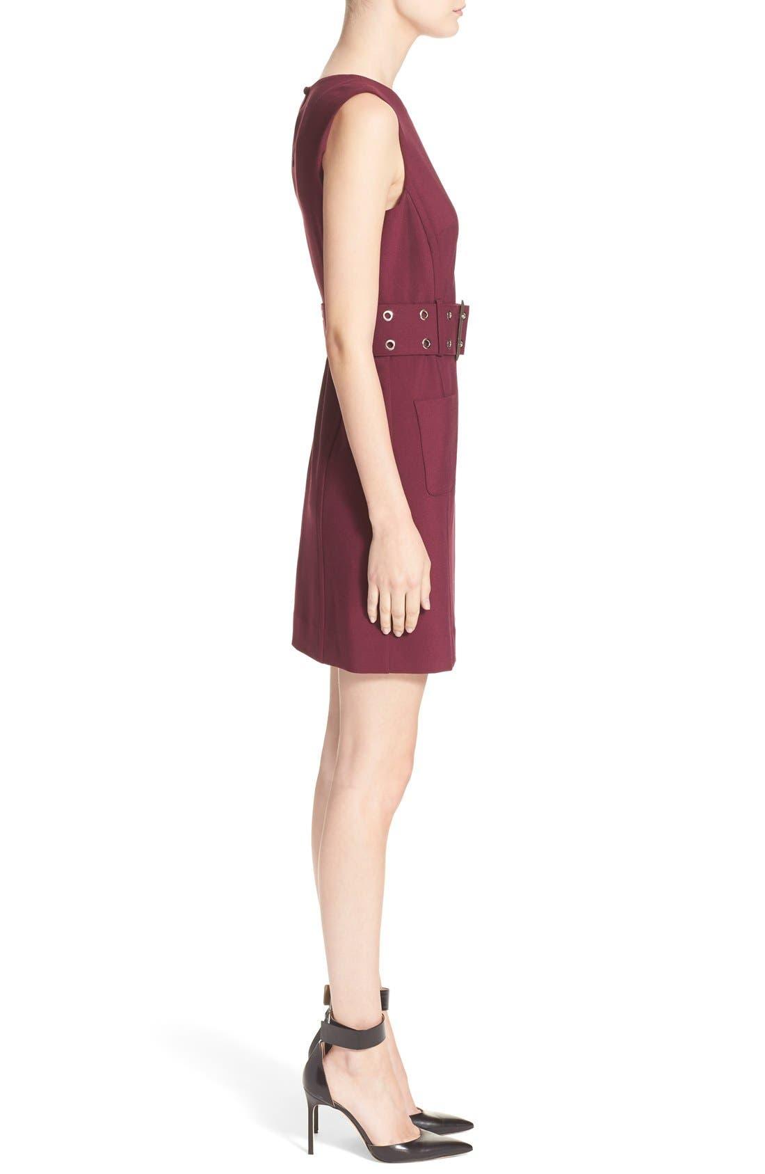 Double Crepe Belted Minidress,                             Alternate thumbnail 3, color,                             Burgundy