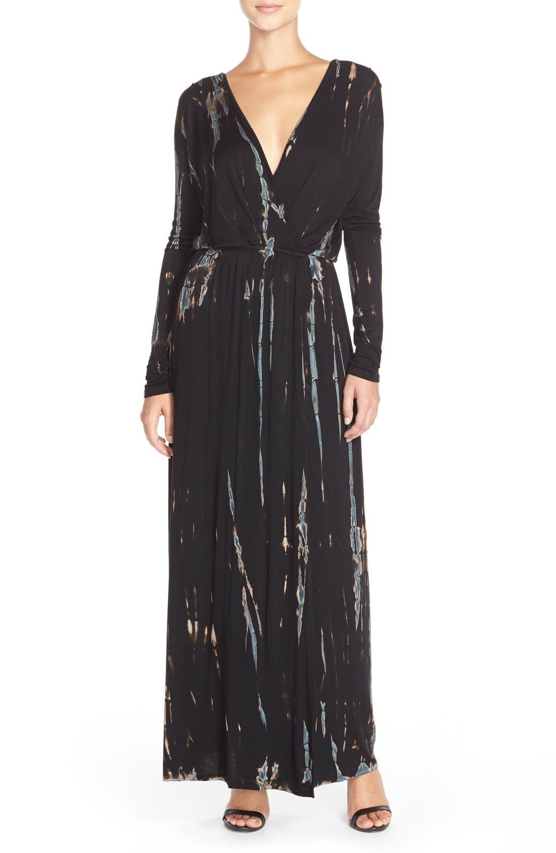 Tie Dye Faux Wrap Maxi Dress,                             Main thumbnail 1, color,                             Black/ Blue Special