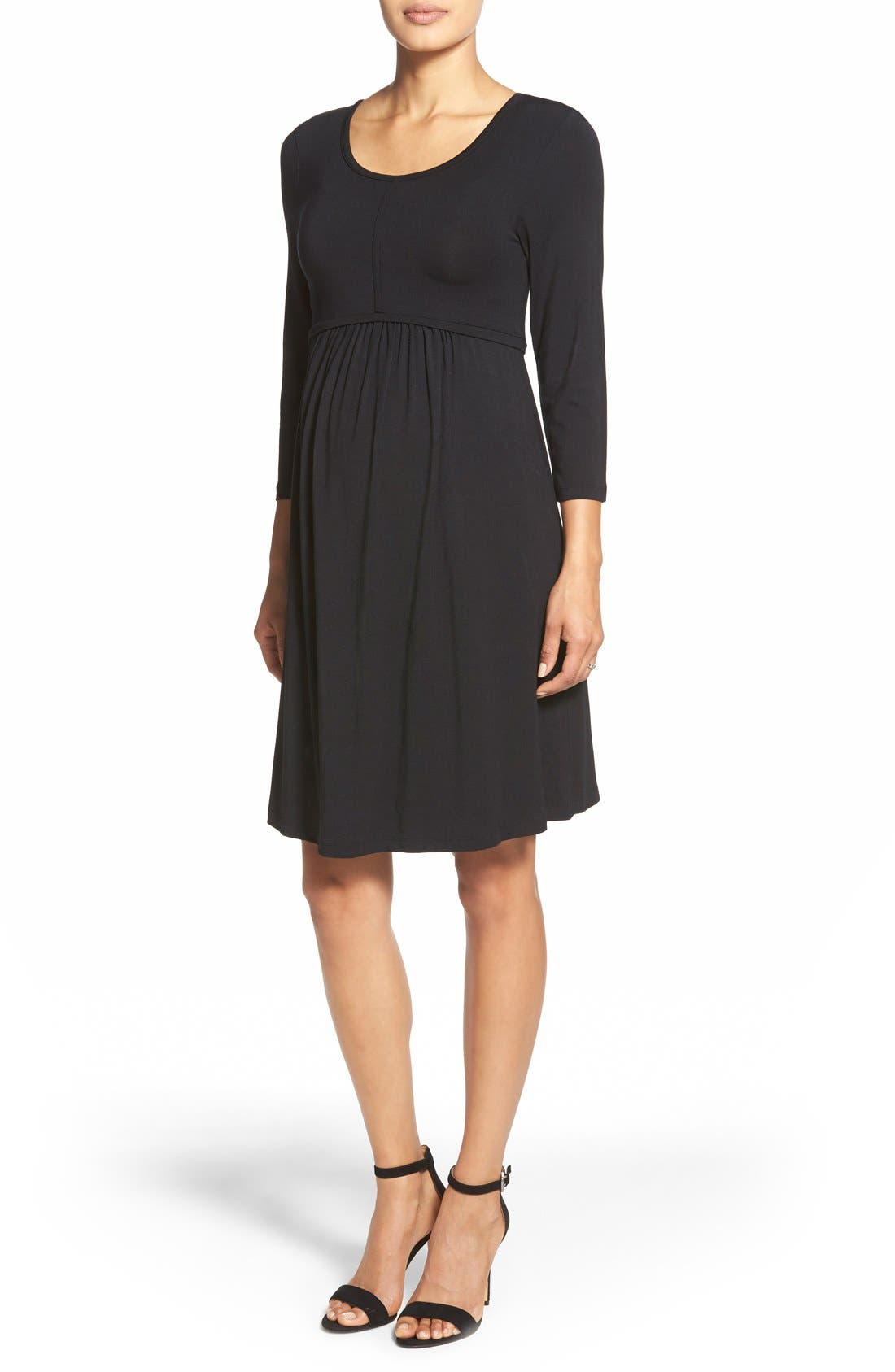 Main Image - Tart Maternity 'Mathilde' Elbow Sleeve Maternity Dress