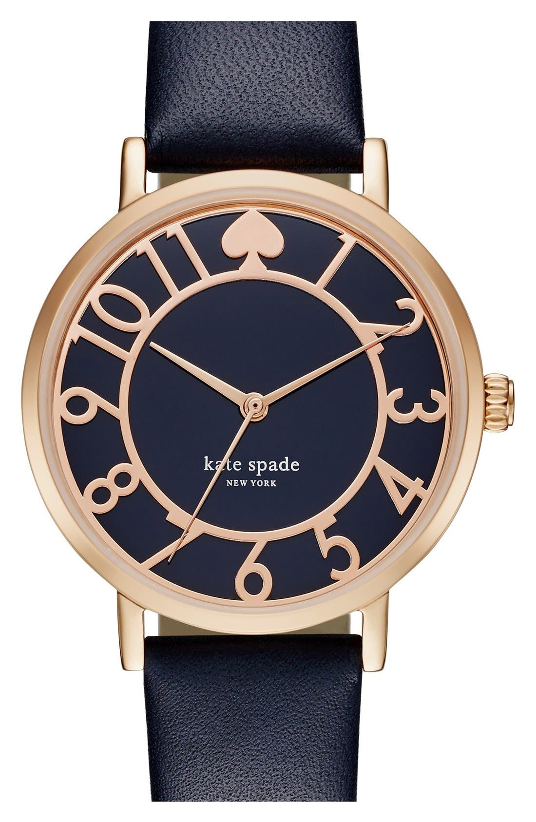 Alternate Image 1 Selected - kate spade new york 'metro' mother-of-pearl leather strap watch, 34mm