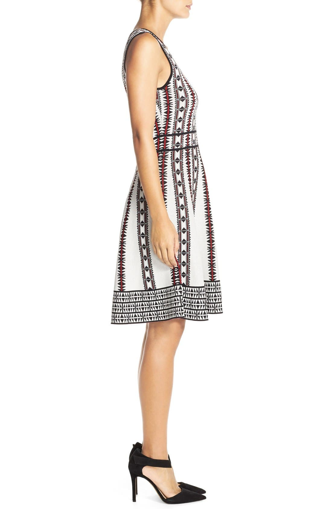 Alternate Image 3  - Vince Camuto Geometric Fit & Flare Sweater Dress