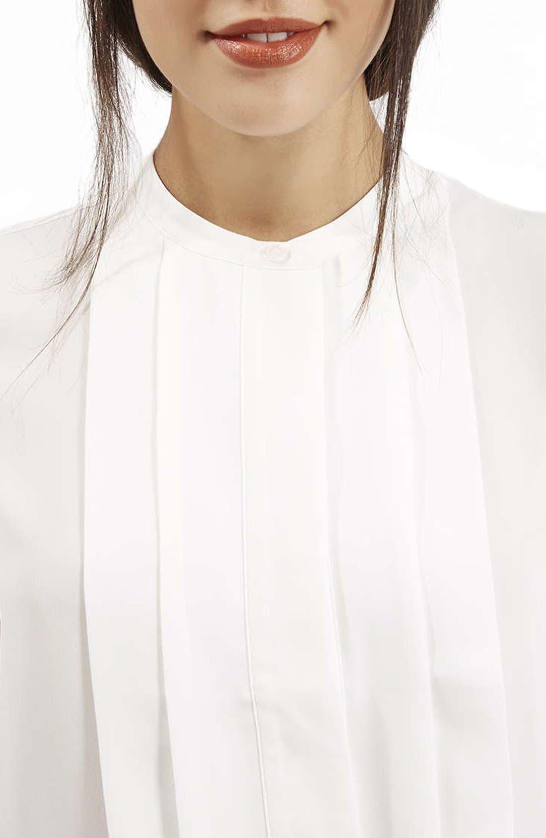 Alternate Image 3  - Topshop Pleated Bib Button Front Shirt